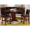 Coaster Lancaster Counter Height Pedestal Table - 101791 - Shown with Bar Stools, Benches, and Corner Unit