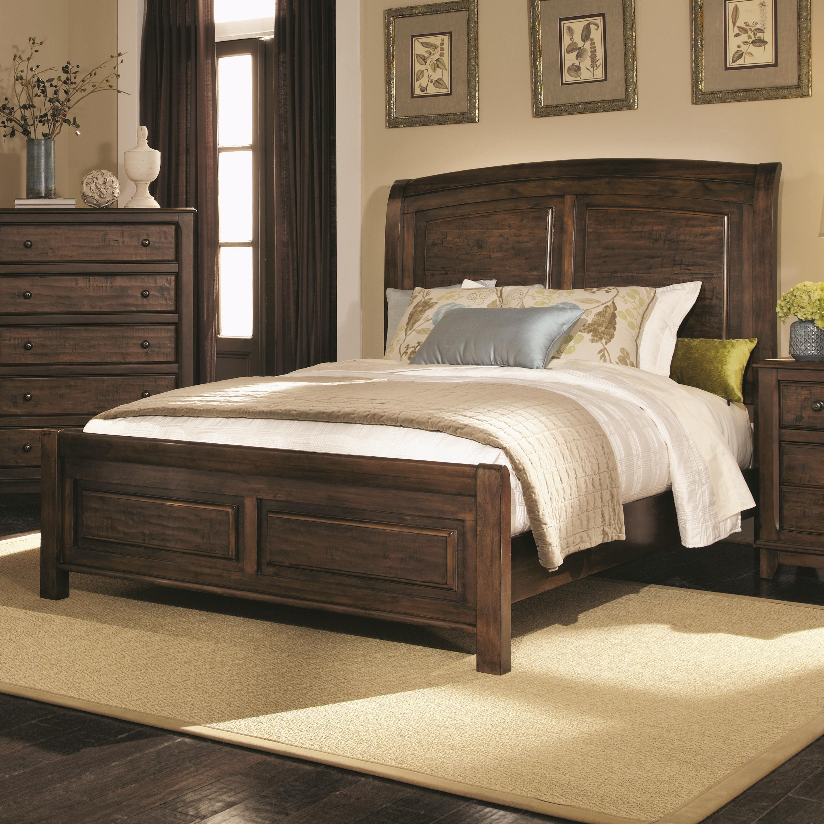 Coaster Laughton Casual King Sleigh Bed A1 Furniture Mattress Panel Beds