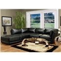 Coaster Kayson Contemporary Leather Ottoman - Shown in Room Setting with Sectional Sofa