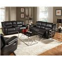 Coaster Lee Transitional Glider Recliner with Pillow Arms - Shown with Double Reclining Gliding Loveseat and Motion Sofa
