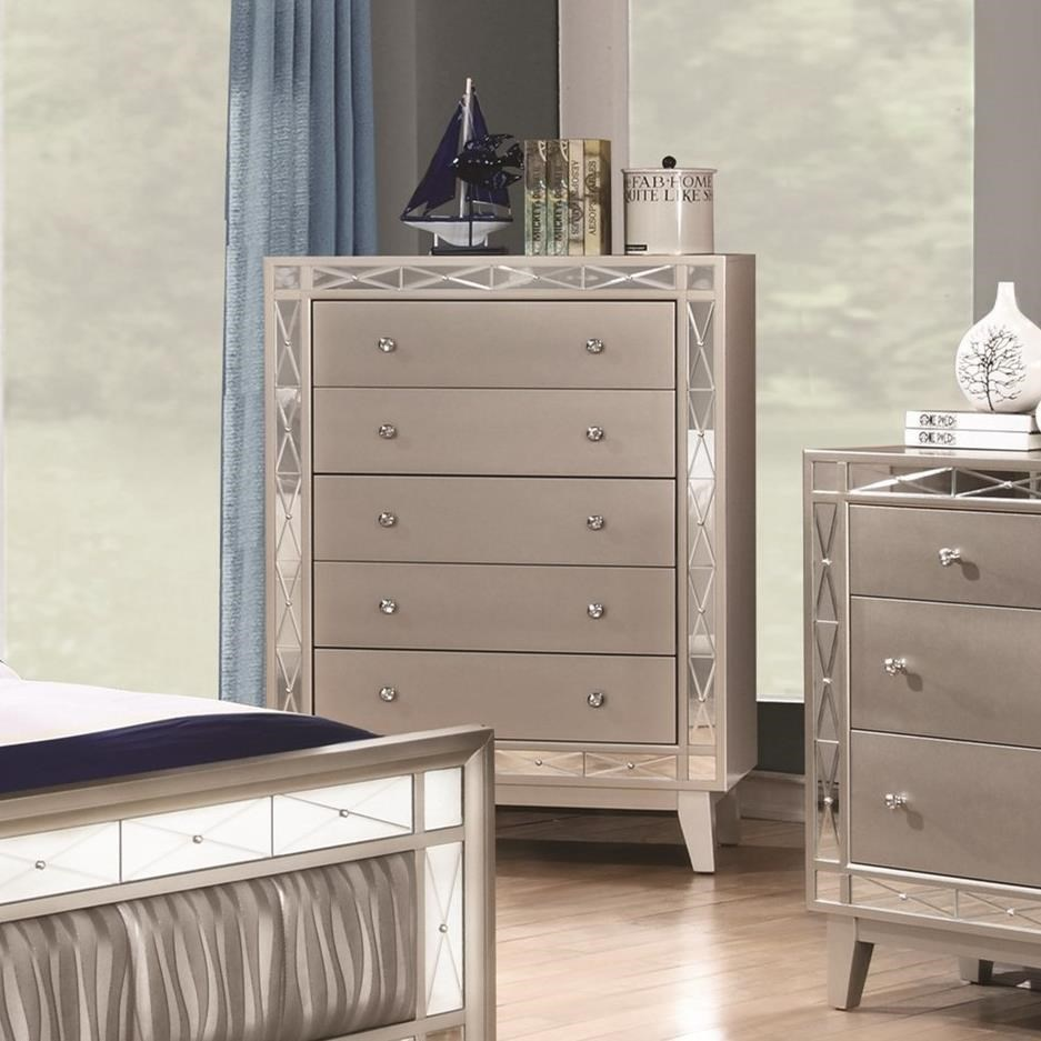 Fine Furniture Leighton 204925 5 Drawer Chest With Crystal