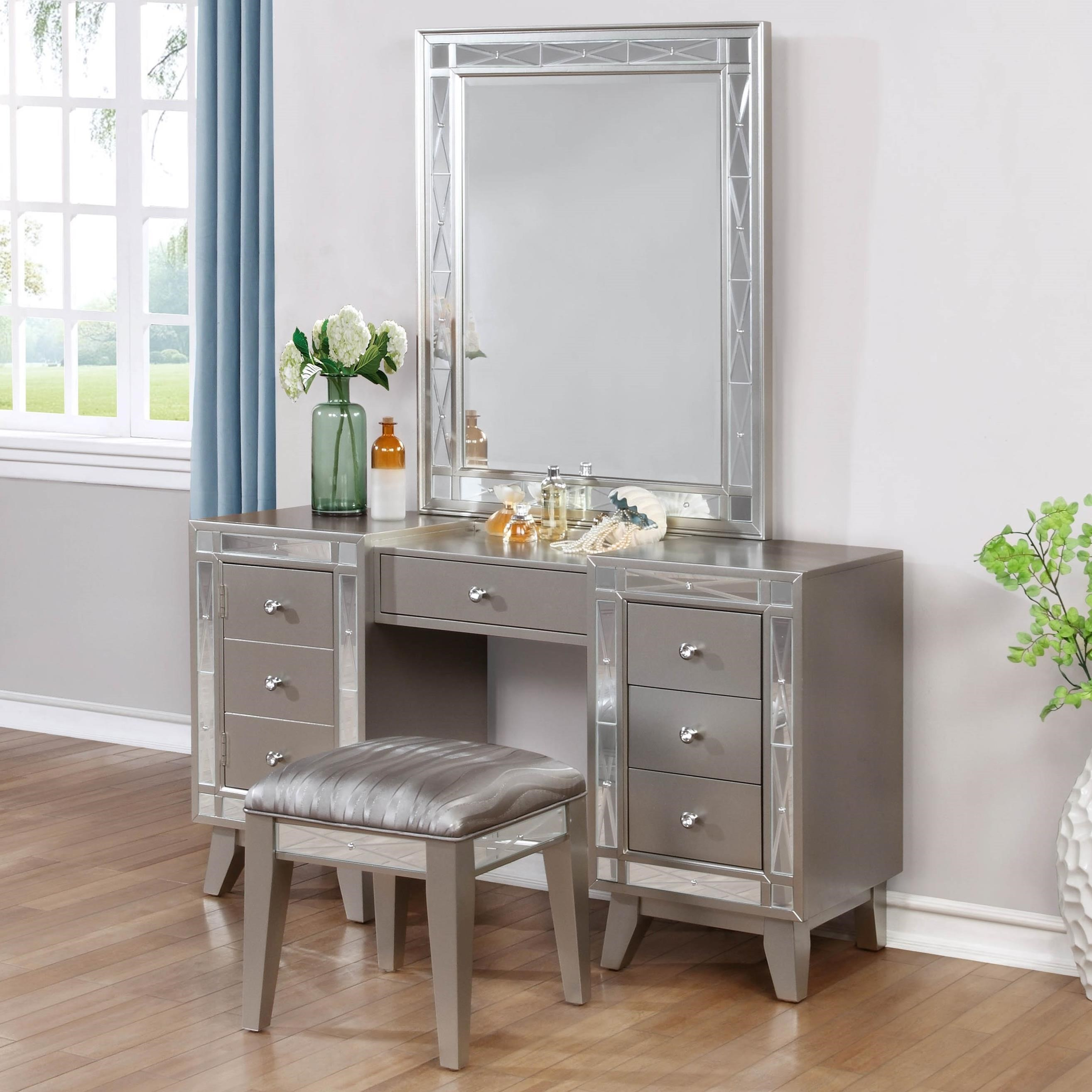 vanity and work desk combo.  Coaster Leighton Glam Vanity Desk Stool And Mirror Combo Del Catarsisdequiron