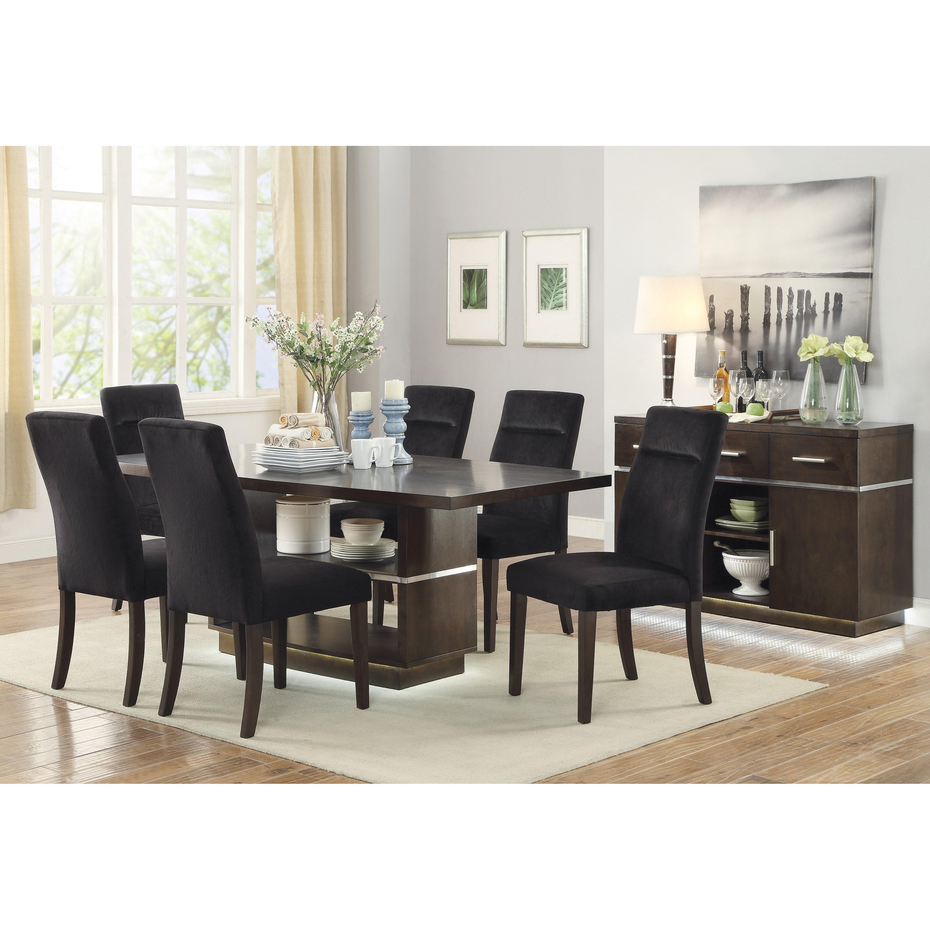 Coaster lincoln contemporary dining room group del sol for Casual dining room