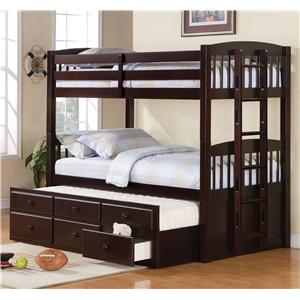 Coaster Logan Twin over Twin Bunk Bed with Trundle
