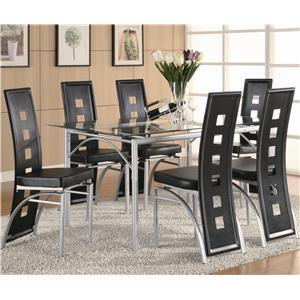 Coaster Los Feliz Dining Table and Chair Set (Black)