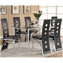 Coaster Los Feliz Dining Table and Chair Set (Black) - Item Number: 101681+6x82