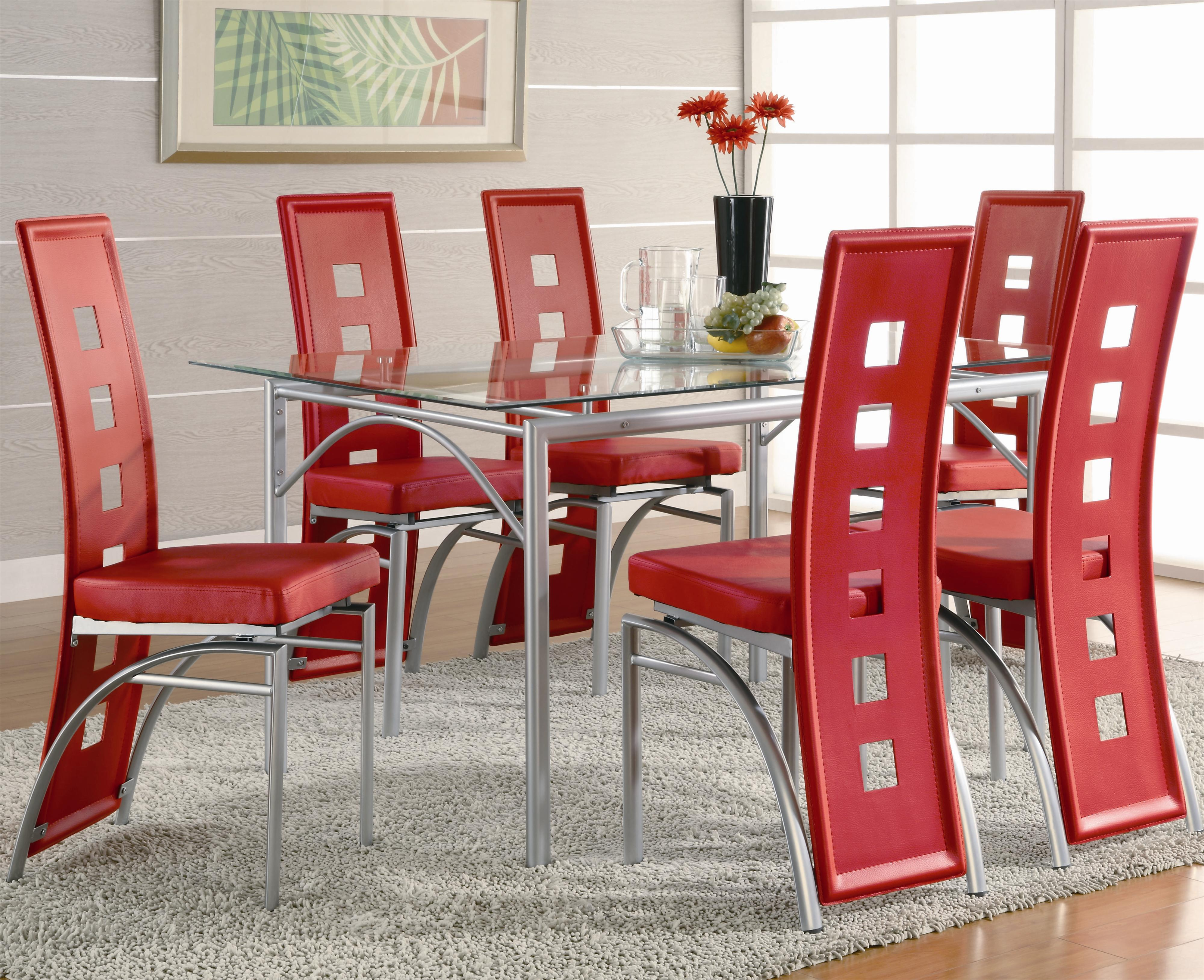 Los Feliz Contemporary Metal Dinner Table And Red Upholstered Chairs By Coaster At Dunk Bright Furniture