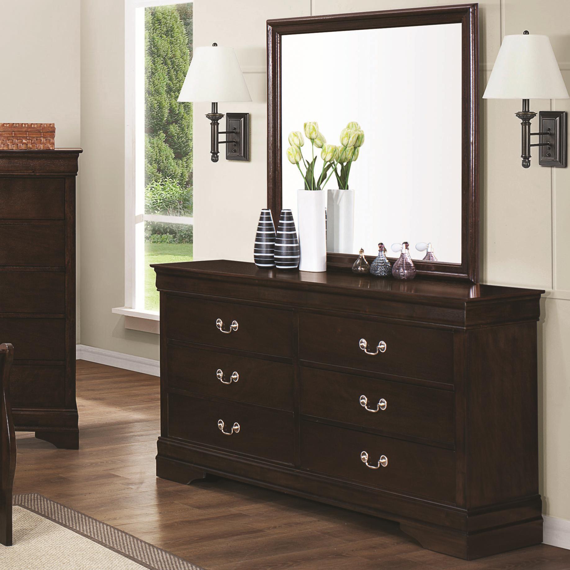 Coaster Louis Philippe 202 Dresser & Mirror - Item Number: 202413+14