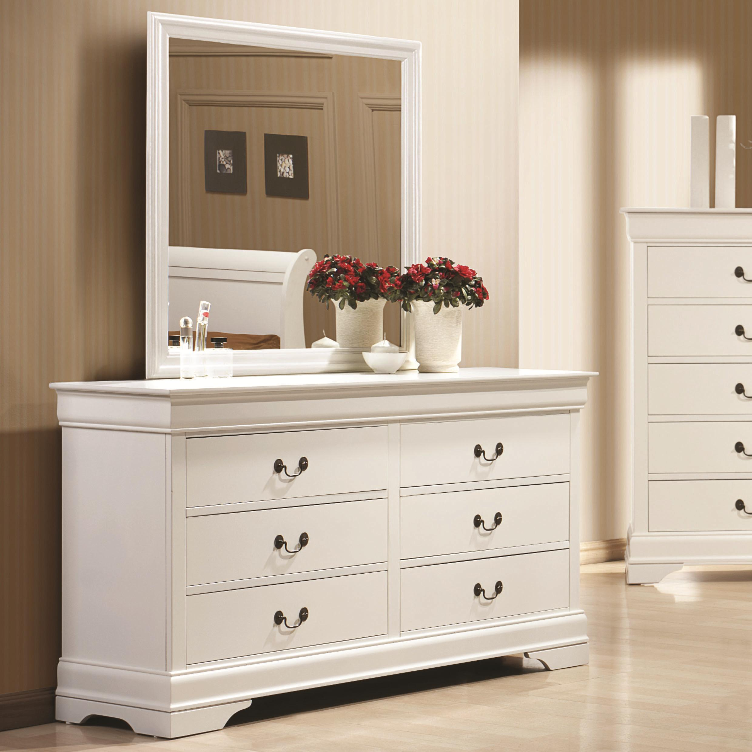 Coaster Louis Philippe 204 Dresser + Mirror - Item Number: 204693+204694