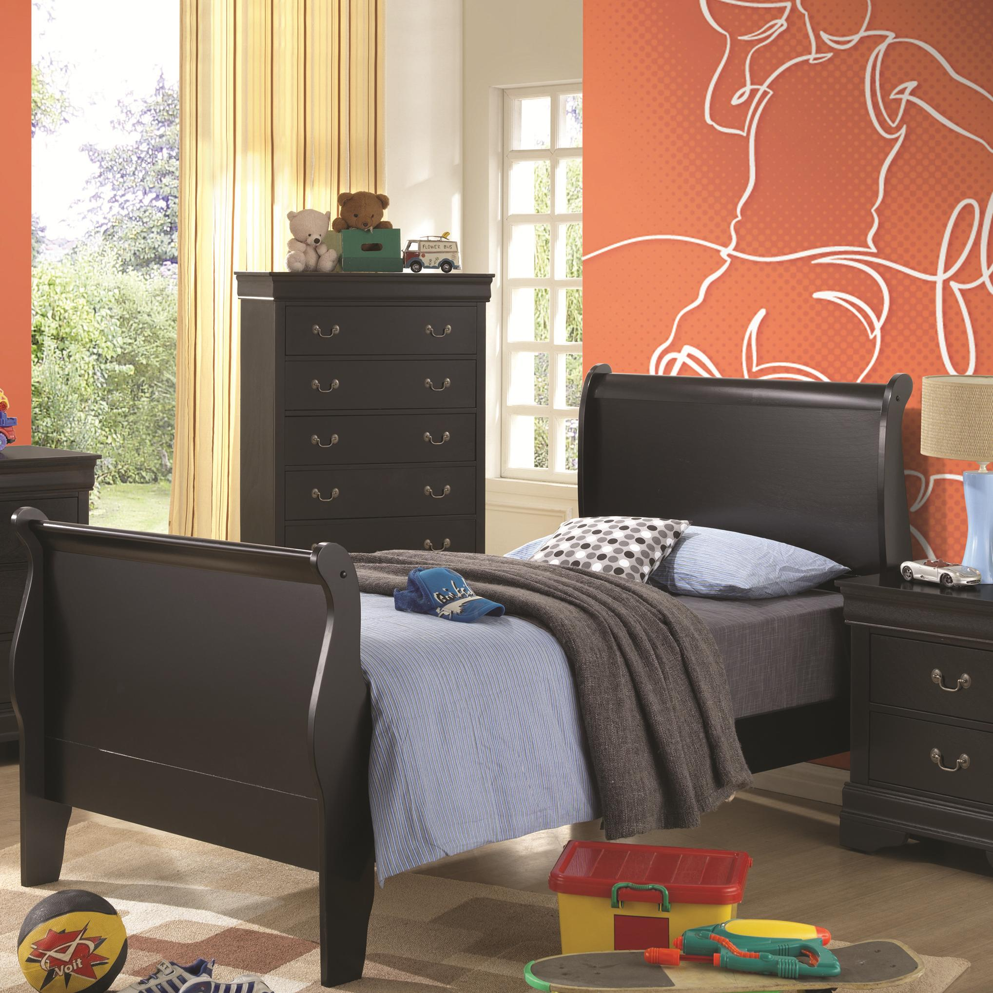 Coaster Louis Philippe Twin Sleigh Bed - Item Number: 201071T