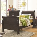 Coaster Hershel Louis Philippe Twin Sleigh Bed - Item Number: 201131T