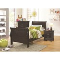 Coaster Hershel Louis Philippe Twin Sleigh Panel Bed
