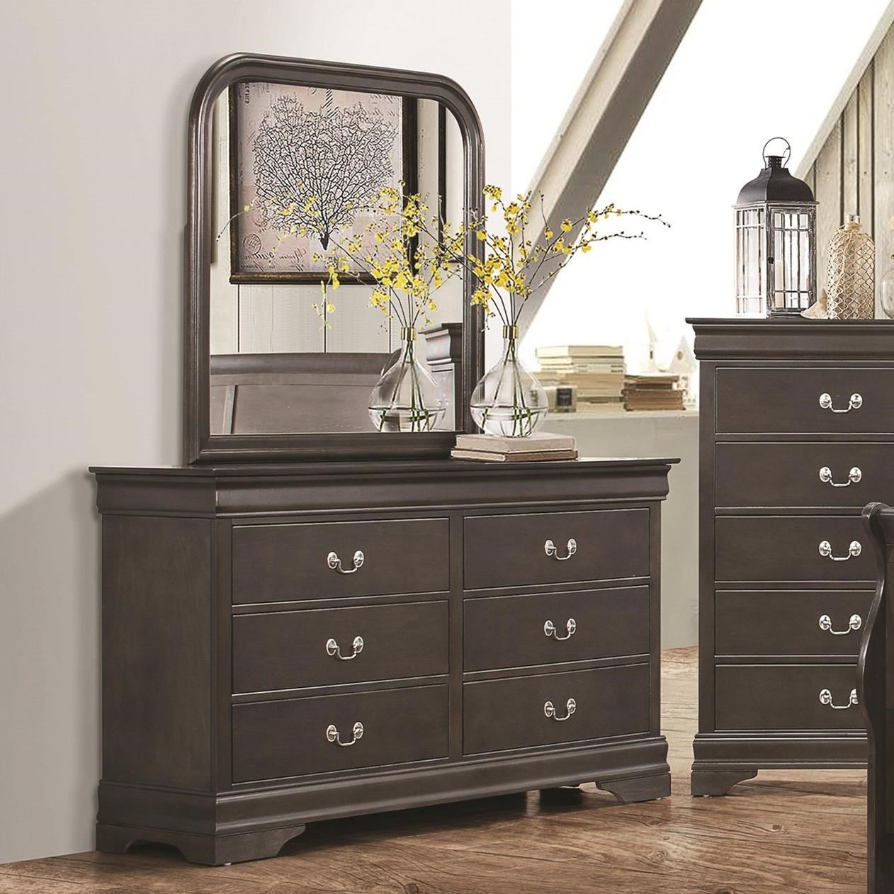 Coaster Hershel Louis Philippe Dresser And Mirror Combination Item Number 201933 201934