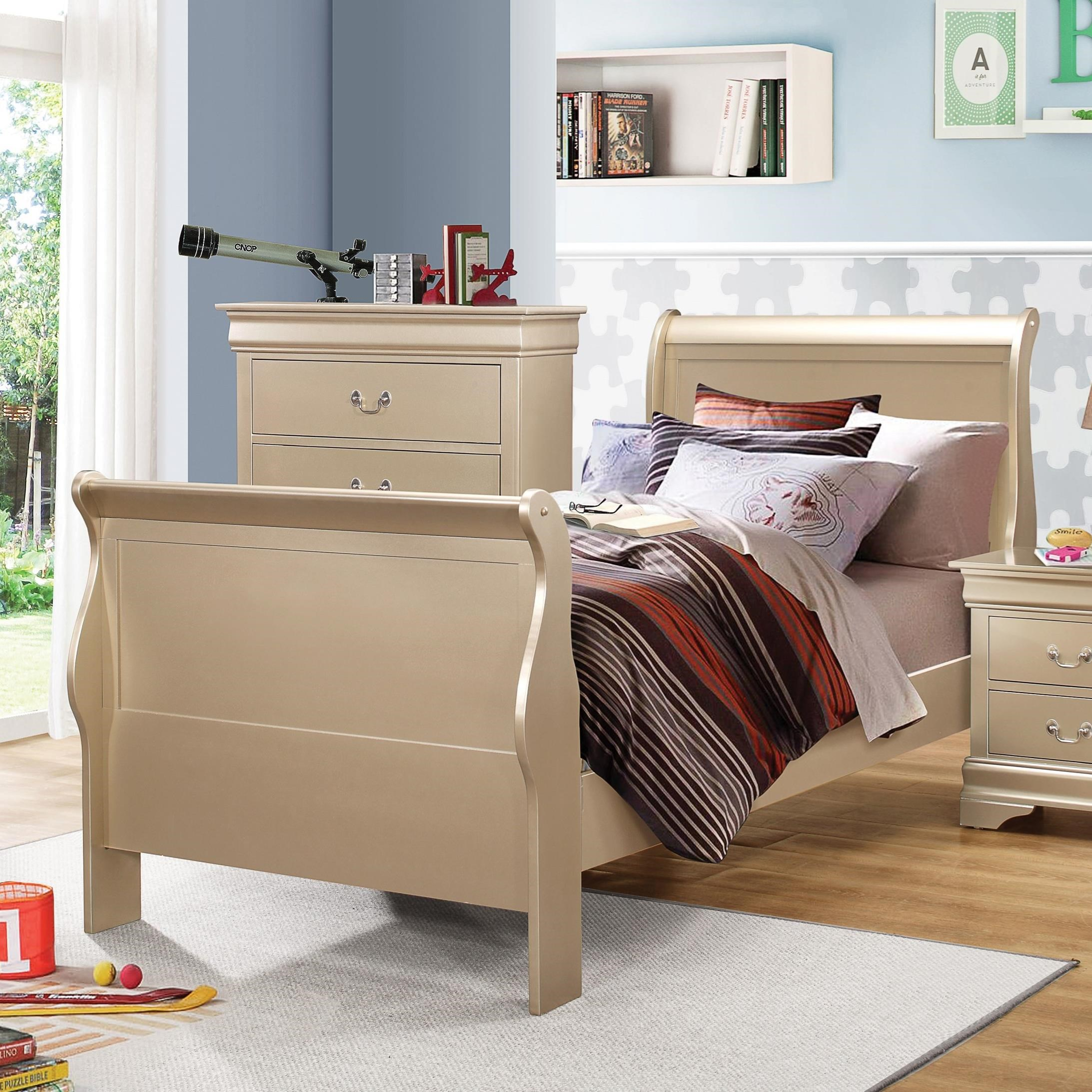 Coaster Louis Philippe Twin Sleigh Bed - Item Number: 204421T