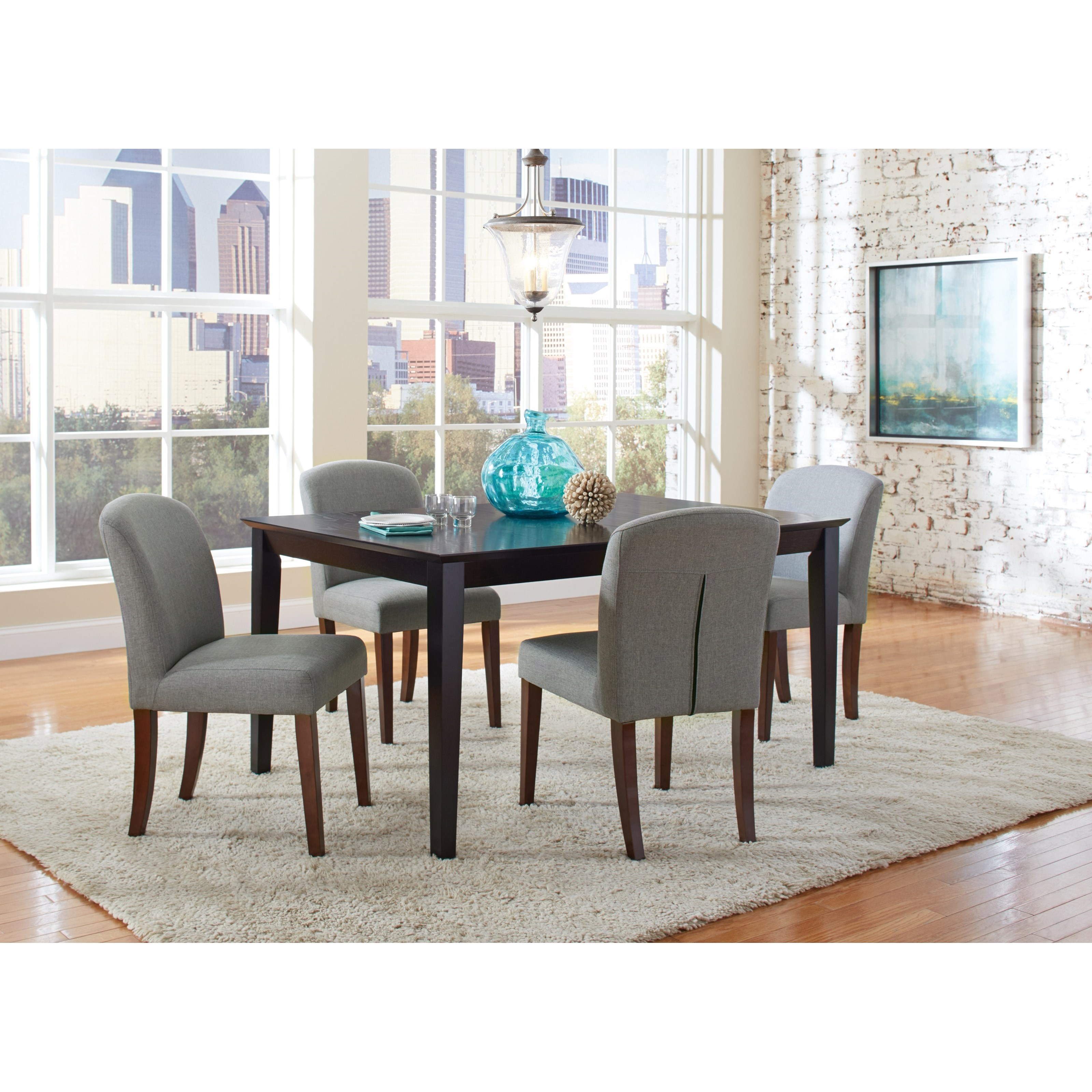 Coaster louise transitional table and four chair set for Four chair dining table set