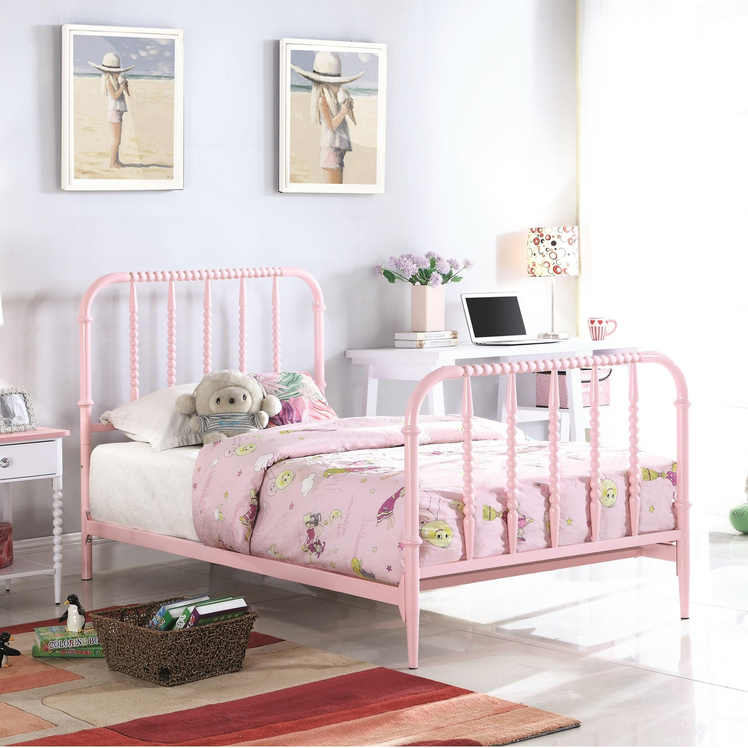 Loyola Casual Twin Bed With Pink Finished Bobbin Motifs By Coaster