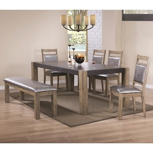 Coaster Ludolf Dining Table and Chair Set with Bench