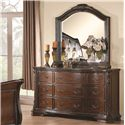 Coaster Maddison Drawer Dresser with Crowned Top - Shown with Mirror