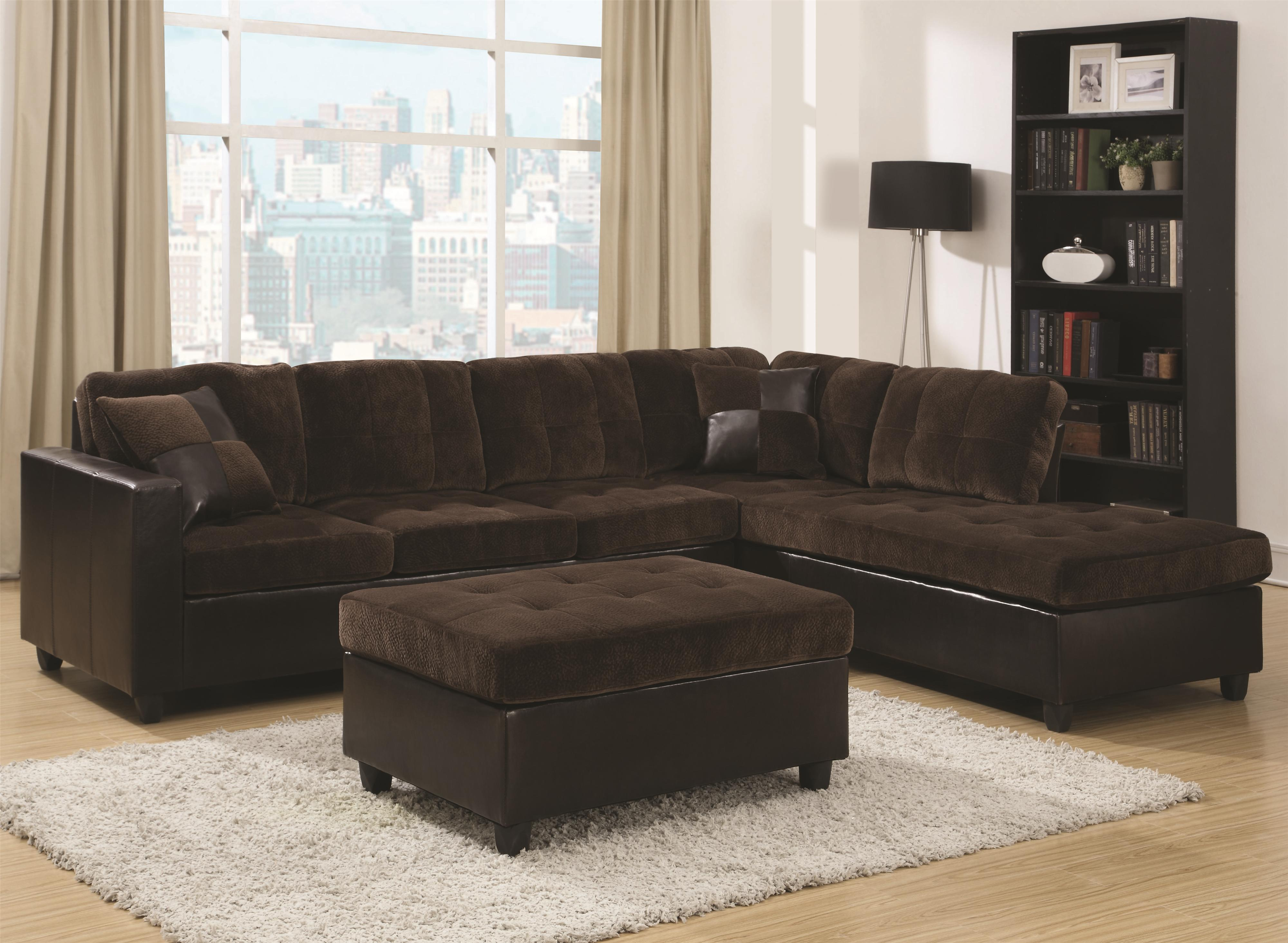 Coaster Mallory Reversible Sectional With Casual And Contemporary Style Furniture Superstore