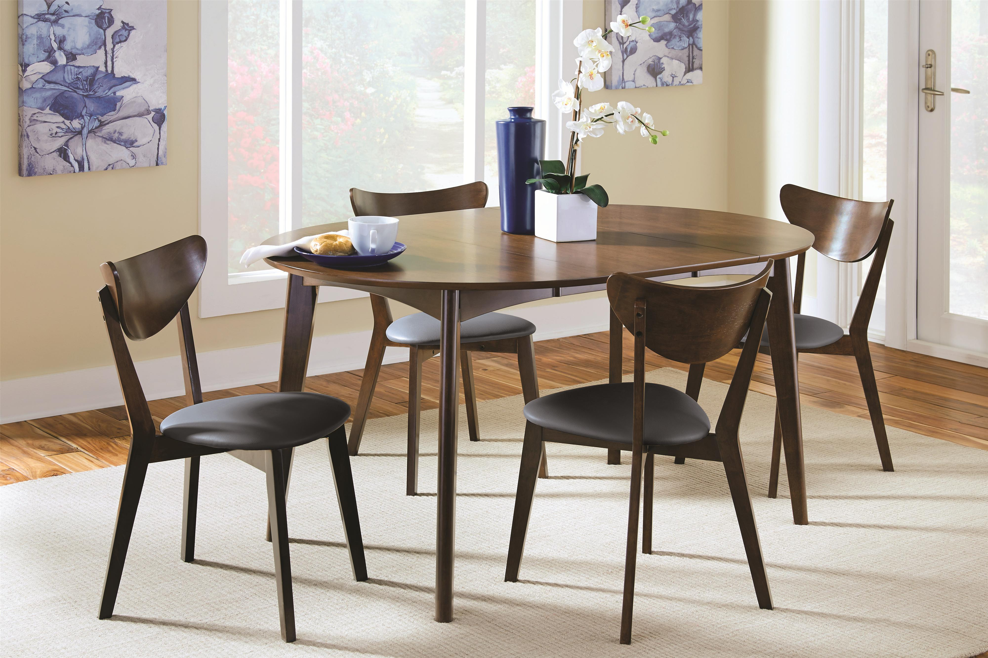 Coaster Malone 5 Piece Dining Set - Item Number 105361+4x62 & Coaster Malone Mid-century Modern 5-Piece Solid Wood Dining Set ...