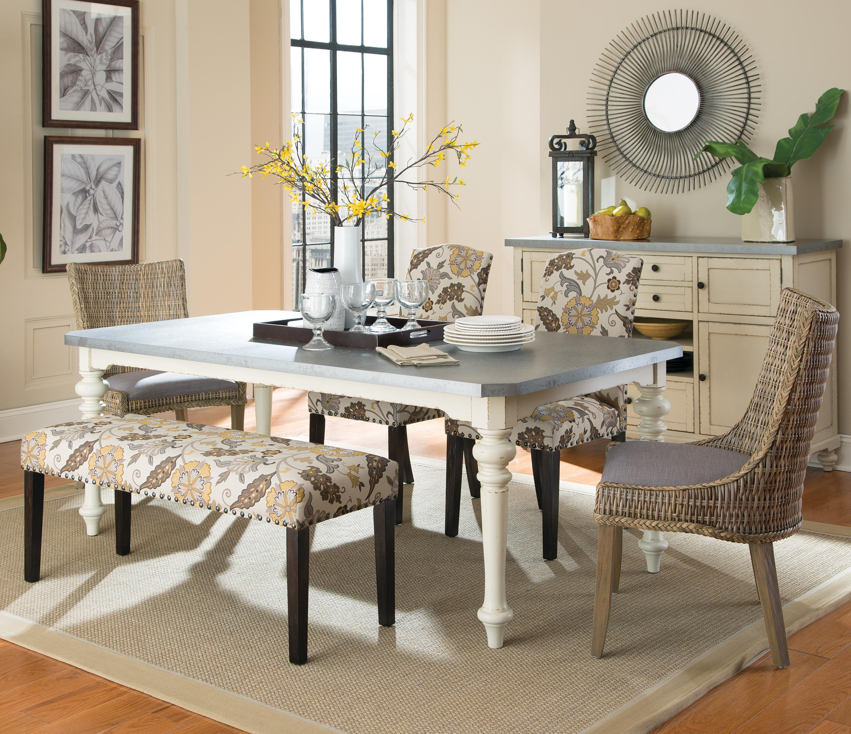 Coaster Matisse 6 Pc Dining Set w/ Bench - Item Number: 106111+2X101075+2X100562+100563