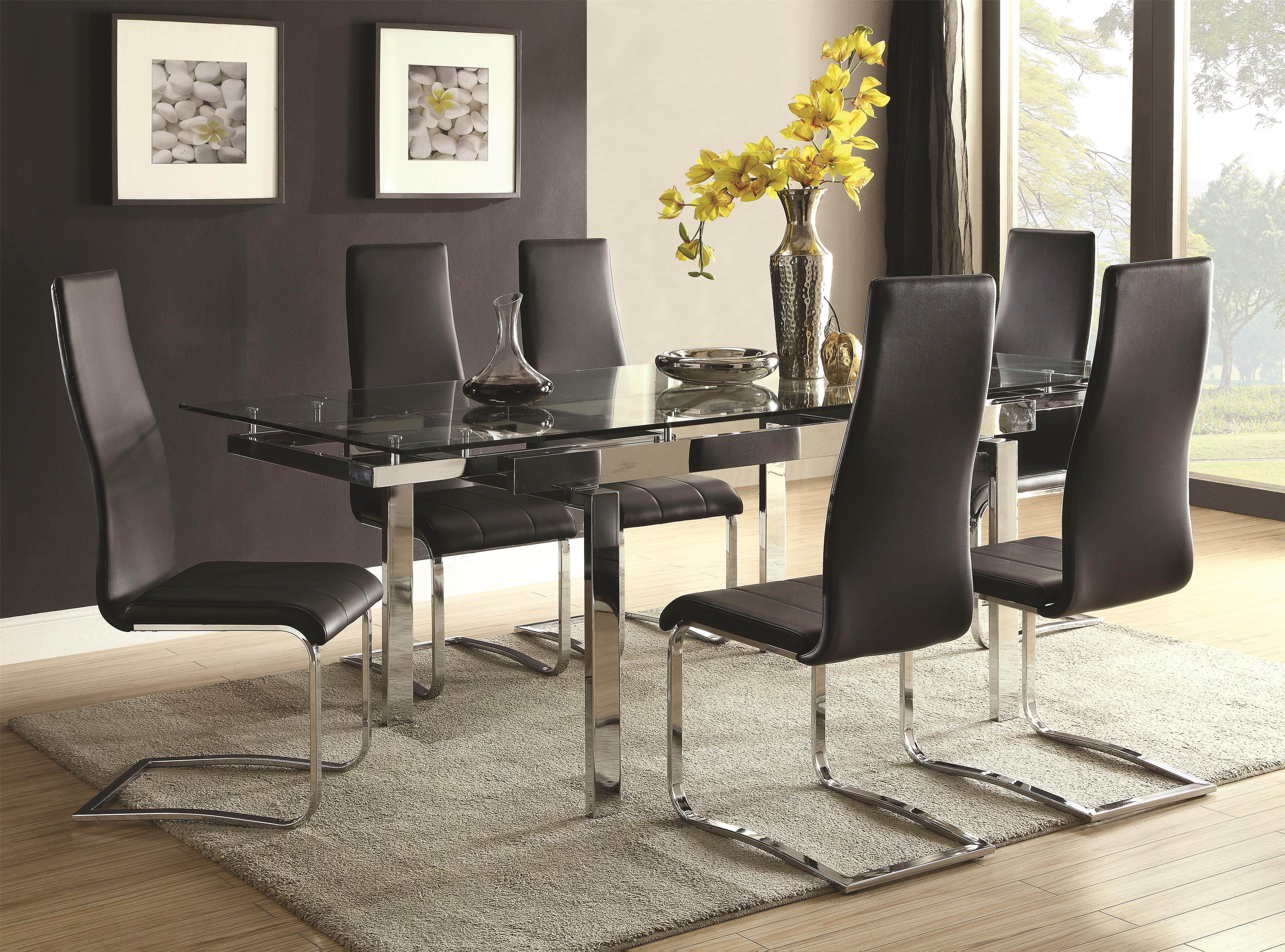Coaster Modern Dining Contemporary Dining Room Set - Item Number: 106281+6x100515BLK