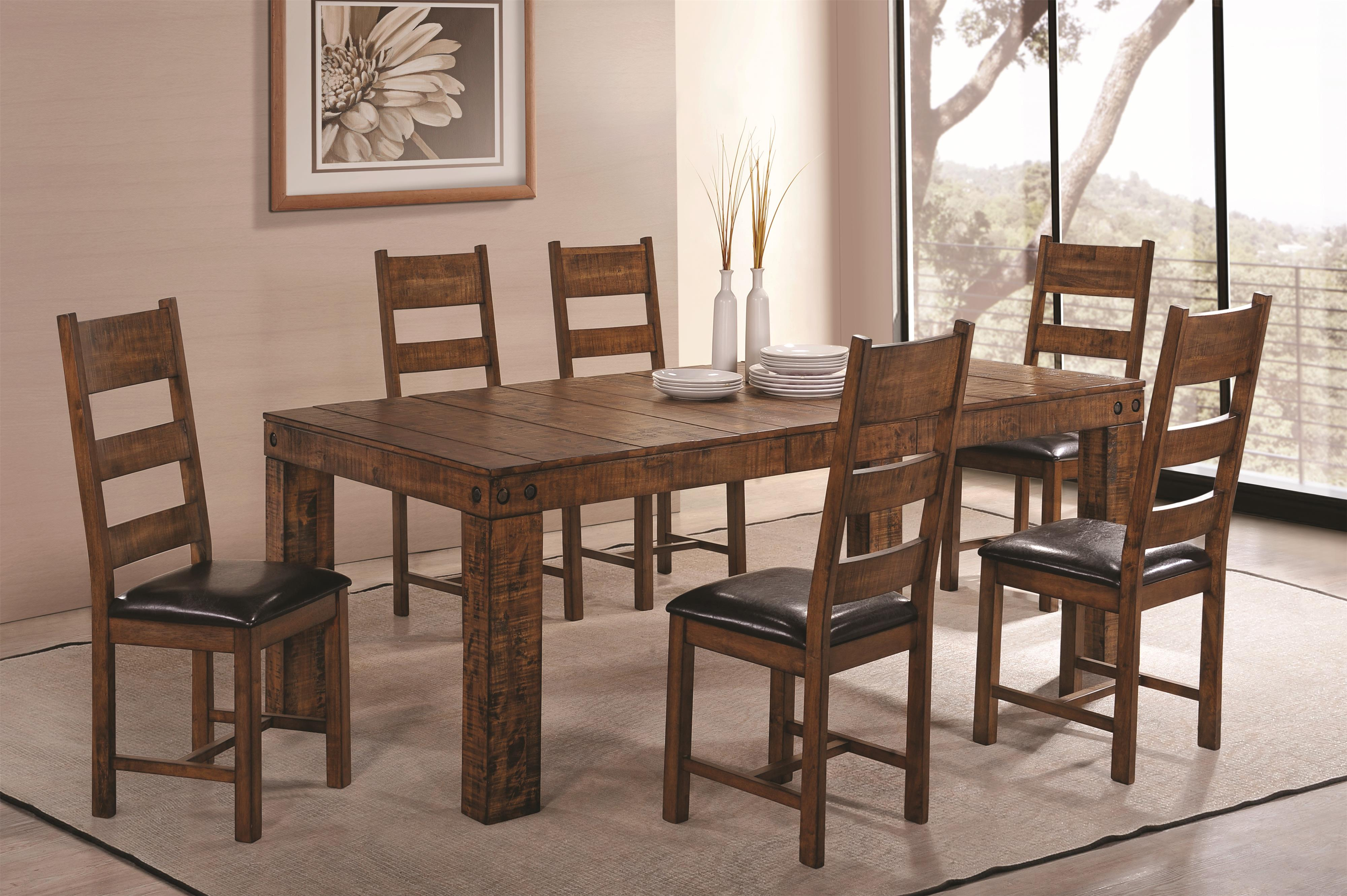 Coaster Murillo 7 Piece Dining Set with Side Chairs - Item Number: 106001+6x106002