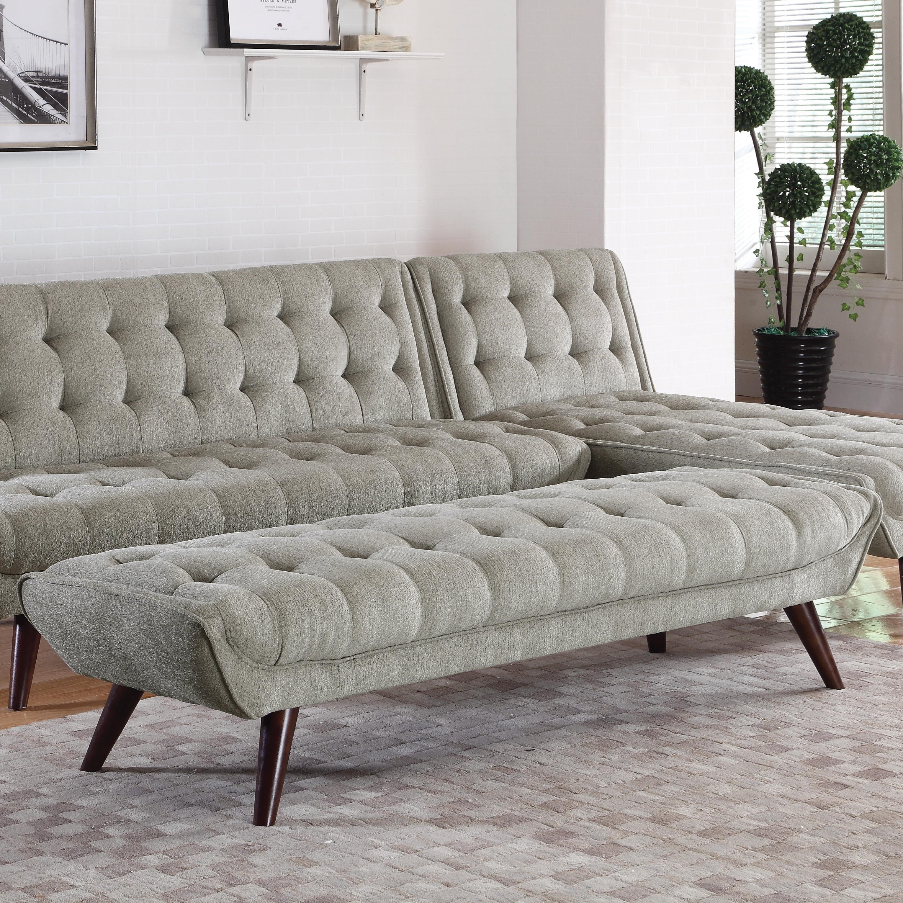 Coaster natalia 505609 mid century modern tufted bench - Upholstered benches for living room ...