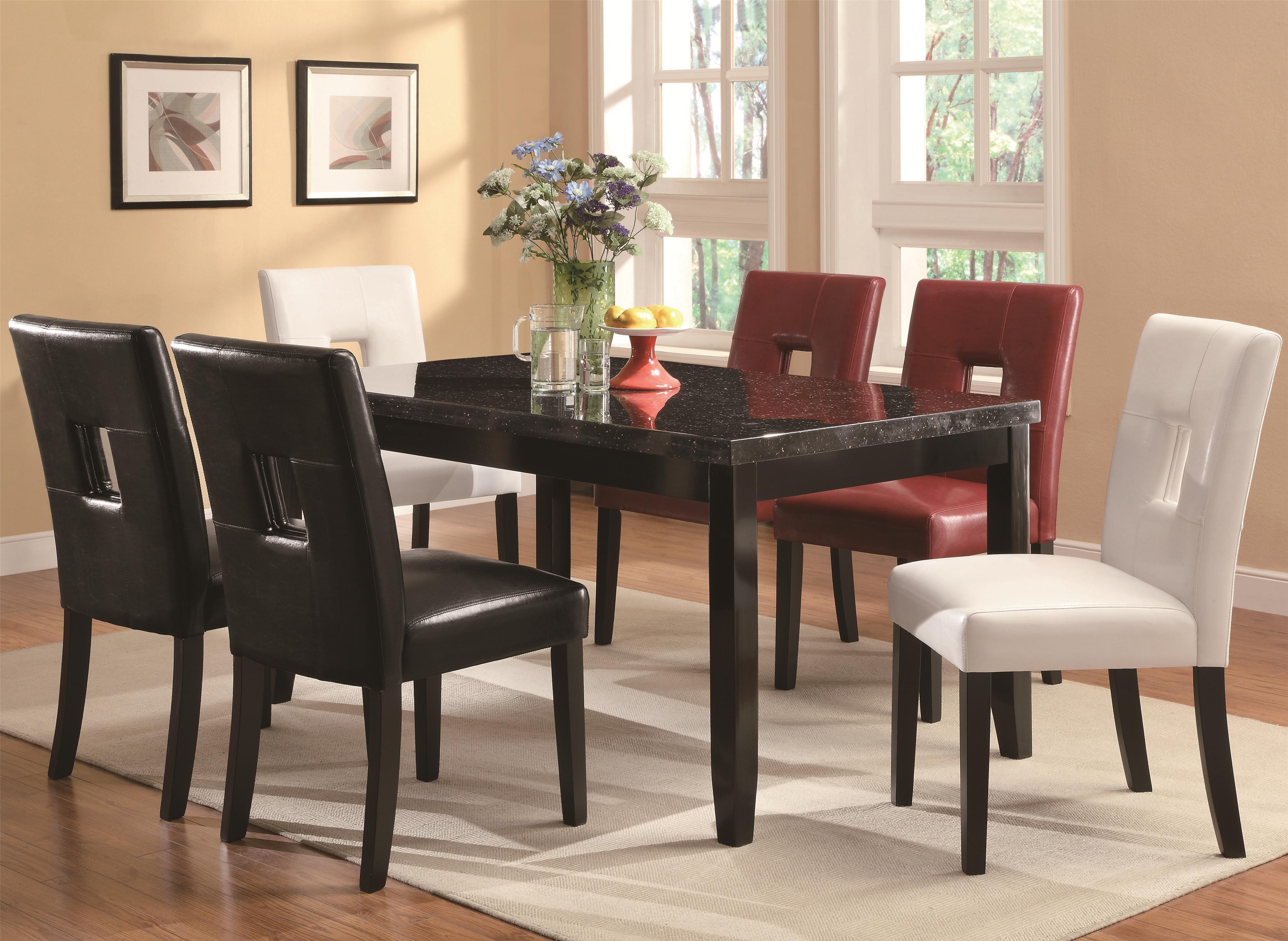Coaster Newbridge 7 Piece Dining Table & Chair Set - Item Number: 103621+2xBLK+2xRED+2xWHT