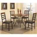 Coaster Noah 5 Piece Dining Set with Round Pedestal Table and Ladderback Chairs