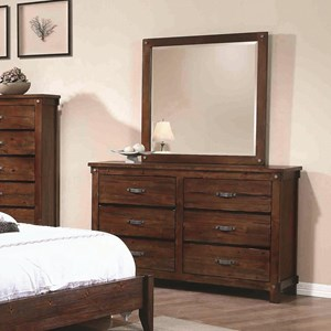 Coaster Noble 6 Drawer Dresser and Mirror