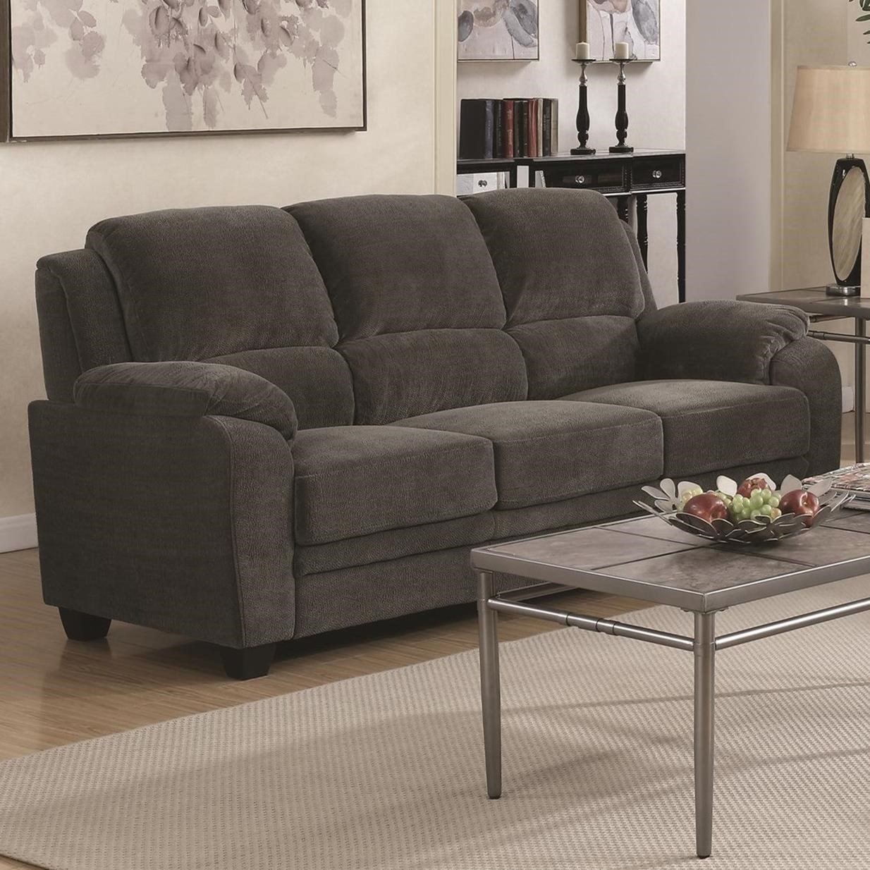 City Furmiture: Coaster Northend Casual Sofa With Velvet-Like Fabric