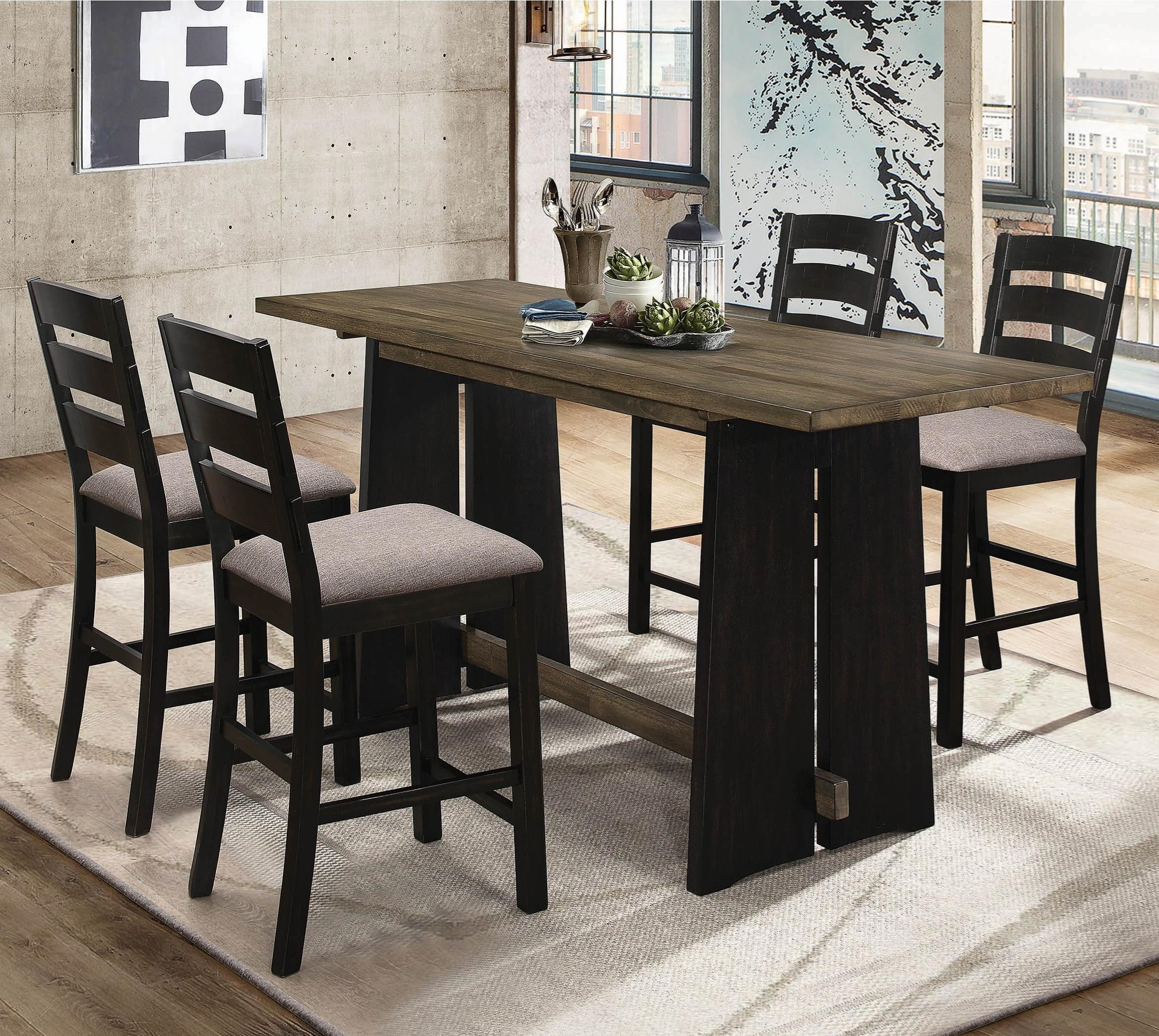 5-Piece Solid Wood Counter Height Table Set