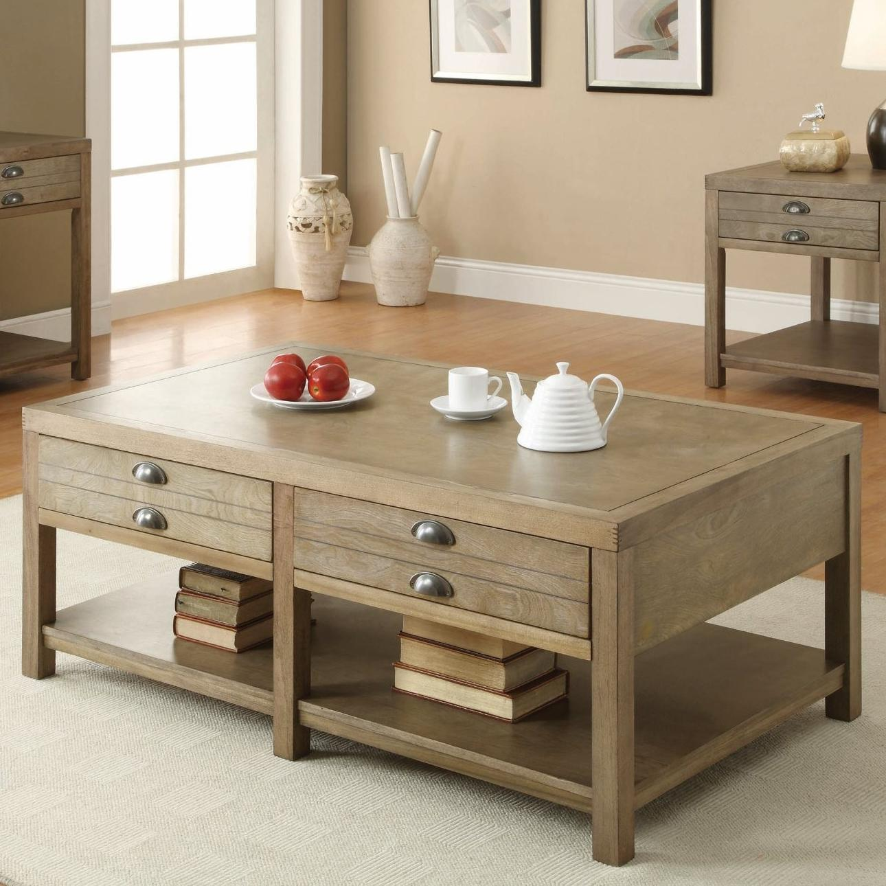 Coaster occasional group 701958 cottage coffee table with two drawers furniture superstore Coaster coffee tables