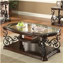 Coaster Occasional Group Traditional Coffee Table with Tempered Glass Top & Ornate Metal Scrollwork - 702448