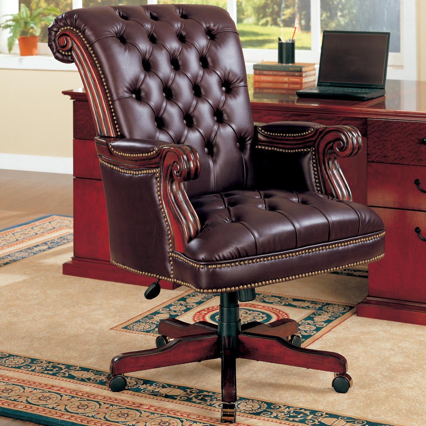 Office Furniture: Coaster Office Chairs 800142 Traditional Leather Executive