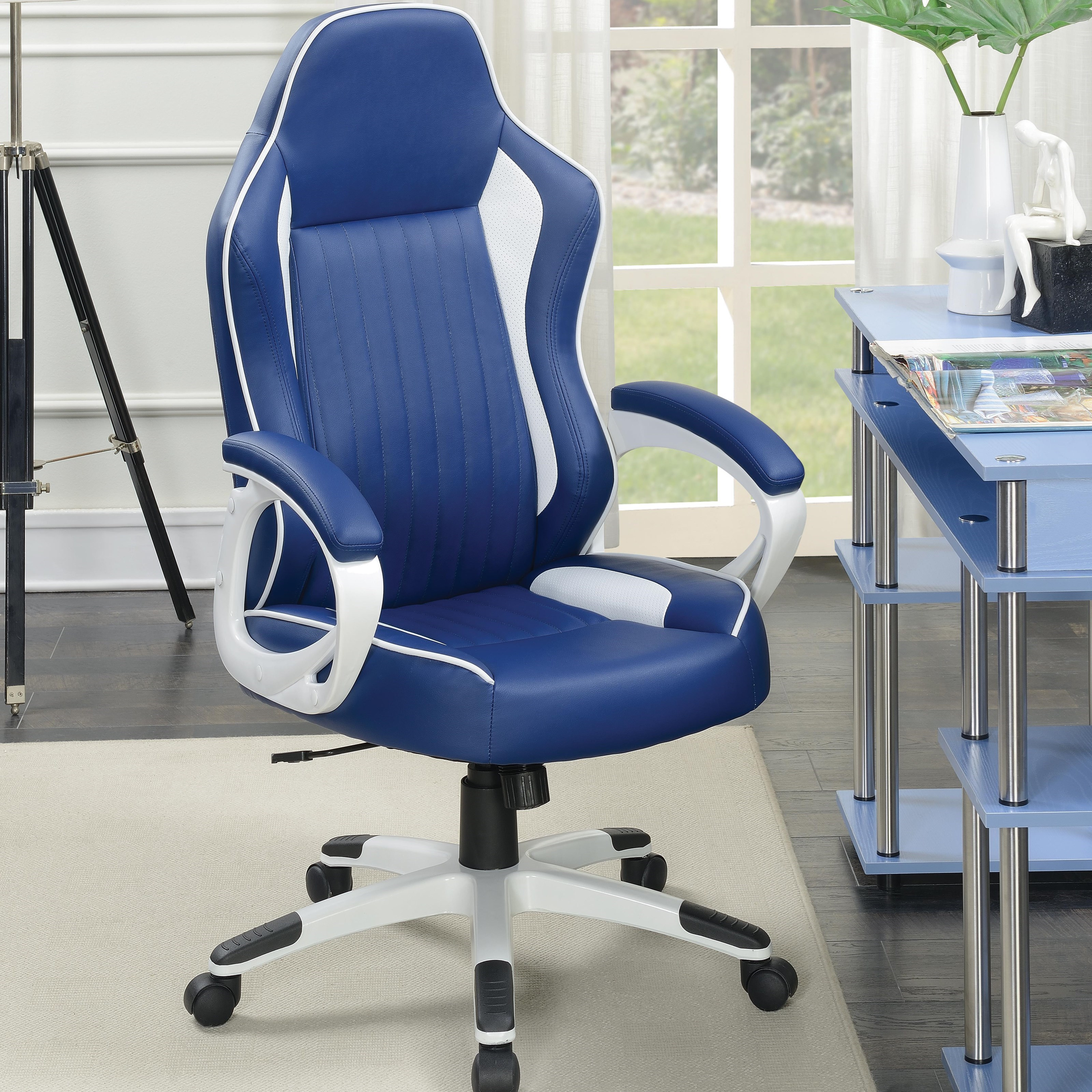Coaster fice Chairs puter Chair with Blue Faux Upholstery