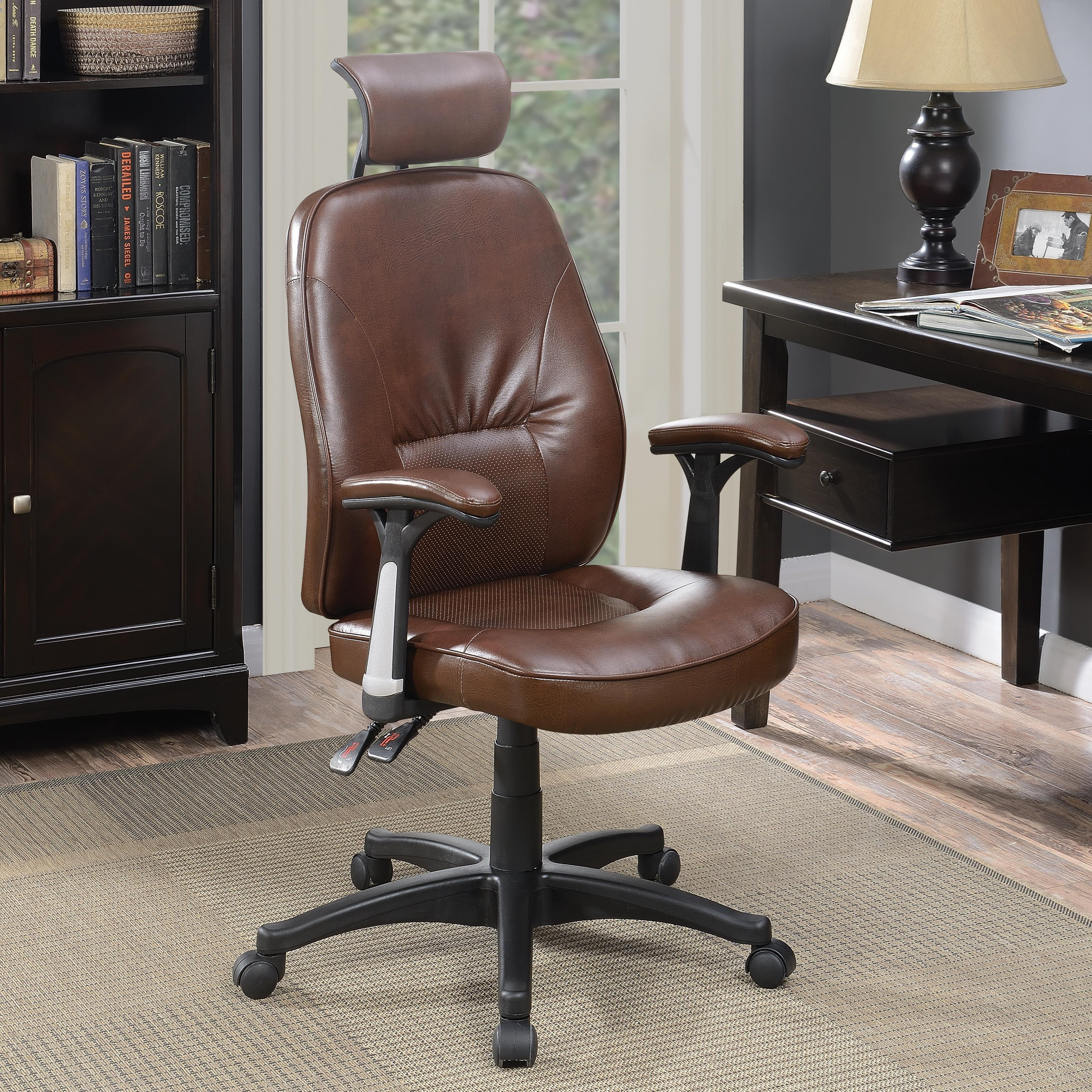 Coaster Office Chairs 881052 Office Chair With Brown Faux