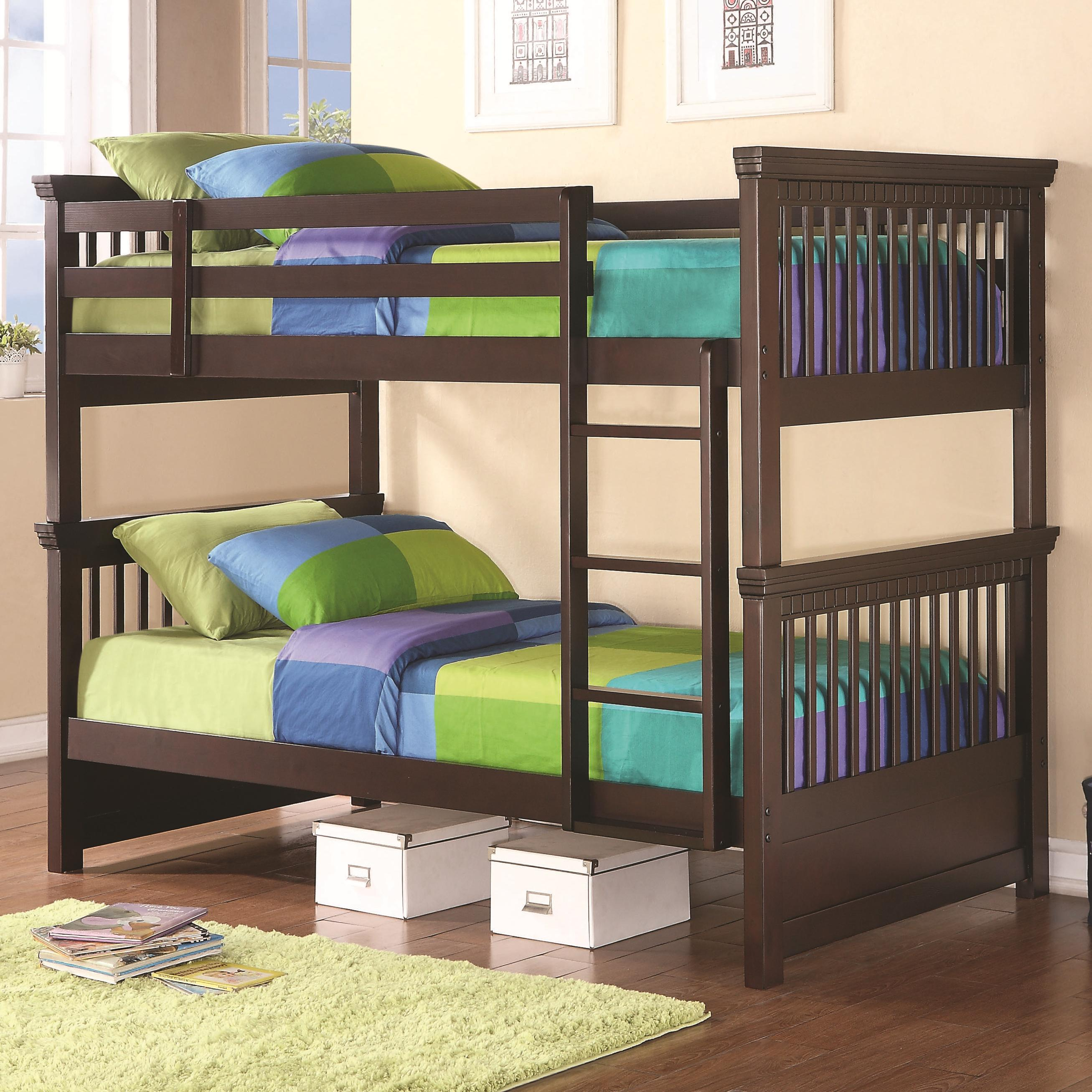 Coaster Oliver Twin Bunk Bed With Spindle Headboard And