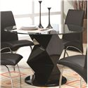 Coaster Ophelia Contemporary Five Piece Dining Set with Round Glass Top Table - Table Shown