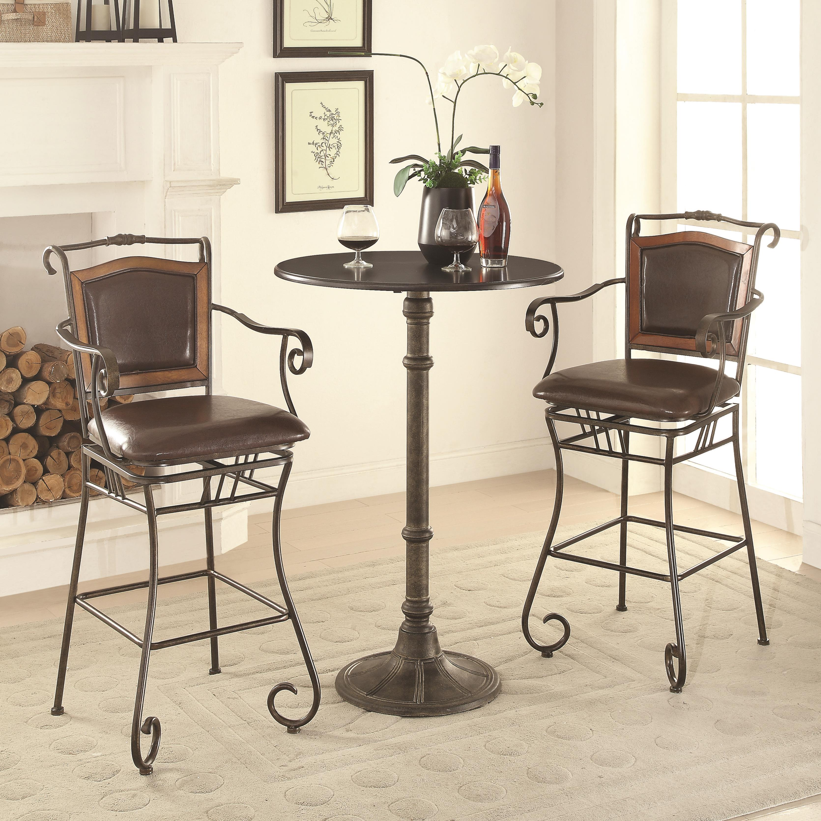Coaster Oswego Pub Table Set - Item Number 100064+2x100159 & Coaster Oswego Pub Table Set with Bar Stools | Value City Furniture ...
