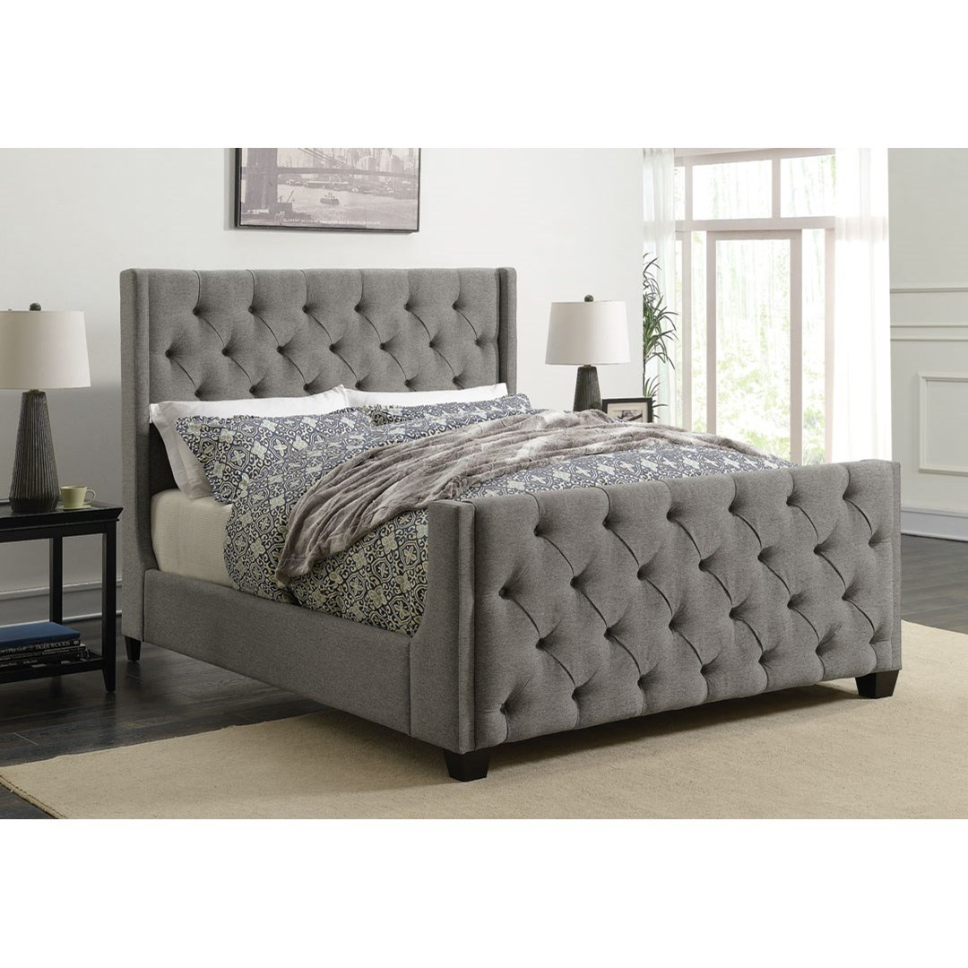 Coaster Palma Upholstered Queen Bed With Button Tufting