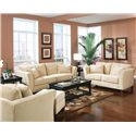 Coaster Park Place Contemporary Sofa with Flair Tapered Arms and Accent Pillows - 500231 - Shown with Love Seat, Chair and Ottoman