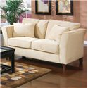Coaster Park Place Contemporary Love Seat with Flair Tapered Arms and Accent Pillows - 500232
