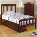 Coaster Parker Twin Slat Headboard & Footboard Bed - Shown with Optional Under Bed Storage Drawers