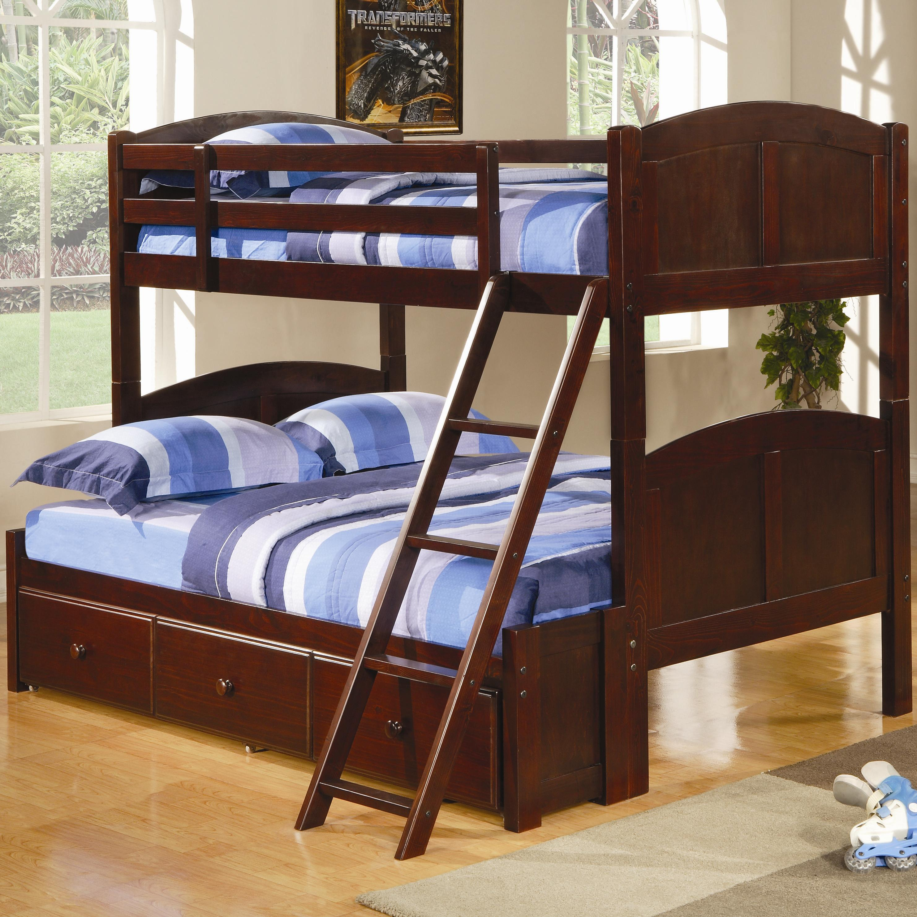 Picture of: Coaster Parker Twin Over Full Panel Bunk Bed With Under Bed Storage Unit Standard Furniture Bunk Beds