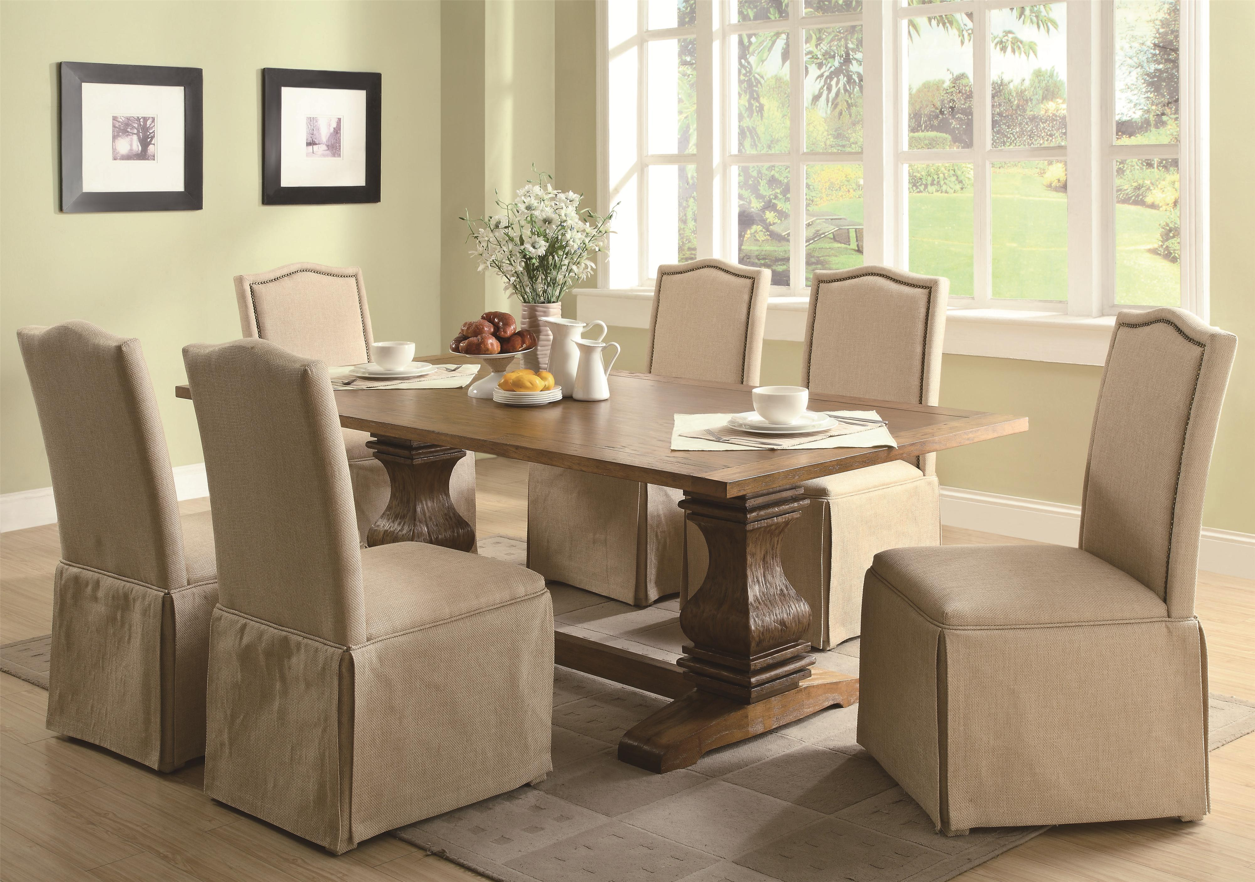Coaster Parkins 7 Piece Dining Table and Chair Set - Item Number: 103711+6x713