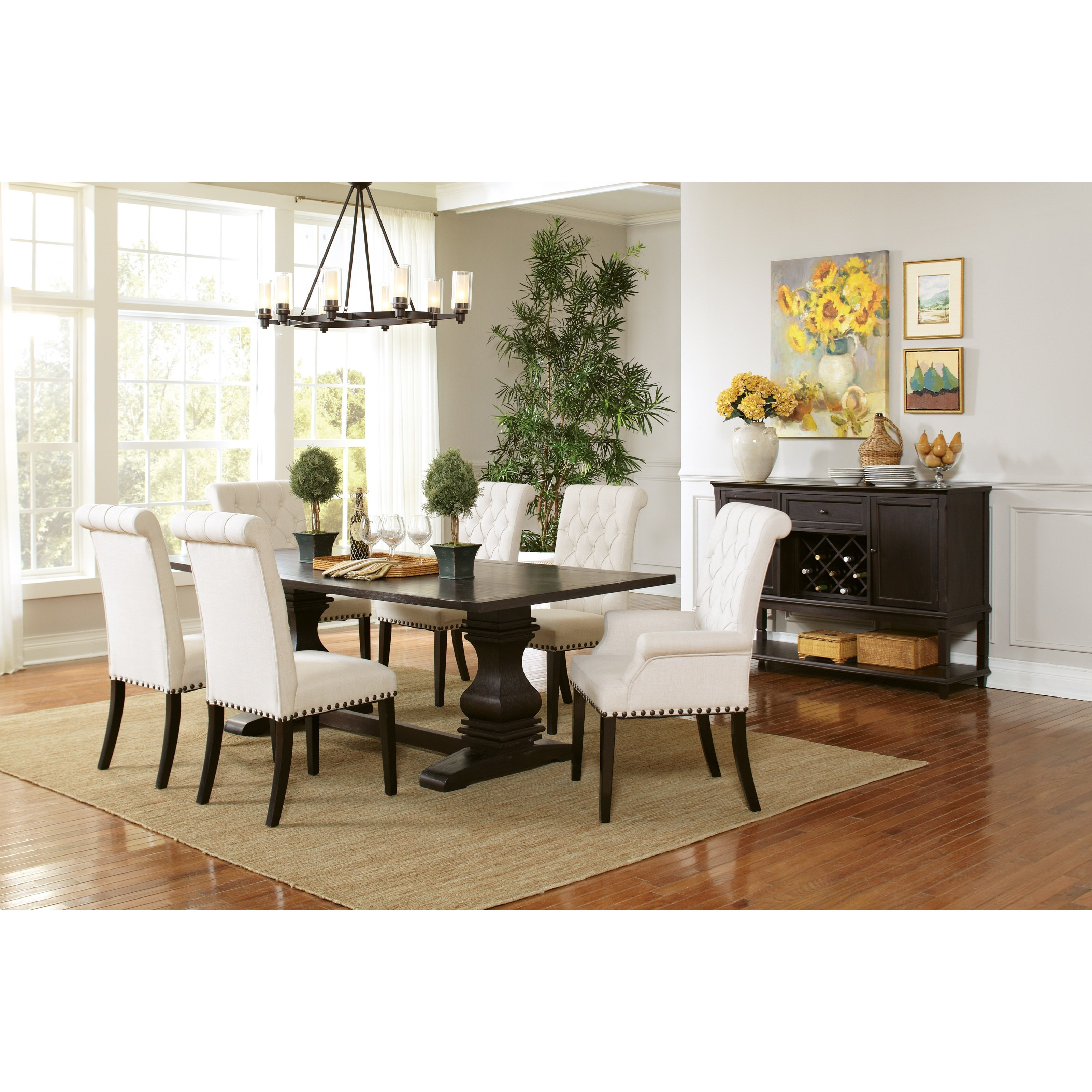 Coaster Parkins Pedestal Table And Chair Set