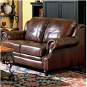 Coaster Princeton Leather Love Seat with Nail Head Trim - 500662