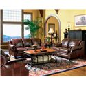 Coaster Princeton Rolled Arm Leather Recliner - Shown in a Room Setting with Love Seat and Sofa